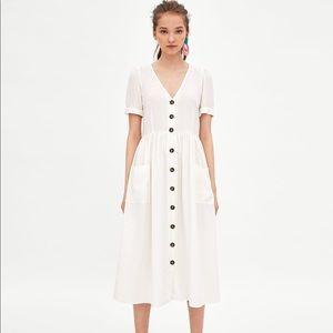 Zara Button Up Linen Midi Dress white
